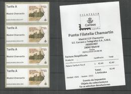 ESPAÑA SPAIN ATM MADRID CHAMARTIN 2019 PALACIO COMUNICACIONES ARQUITECTURA  TARIFA A X 4 CON RECIBO - 2011-... Nuevos & Fijasellos