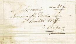 """Lettre 16/10/1853 + Manuscrit """"avec 21frs"""" Envoyée Par Le Messager PAQUAY De VIELSALM à LIEGE- Signé LAMBERTY à VIELSALM - Belgique"""