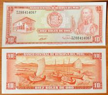 Peru 10 Soles De Oro 1974 UNC - Pérou