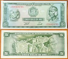 Peru 5 Soles De Oro 1974 UNC - Pérou
