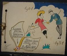 FaPa. 2. Faire-part Des Noces D'Or En 1951. Eugène Dulieu Et Georgina Wallerand - Announcements