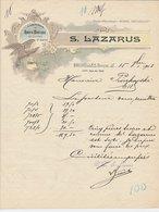 Factuur Bruxelles / Brussel 1903 - S. Lazarus - Fabrique Robes & Manteaux Blouses Et Jupons - Bird Of Prey - 1900 – 1949