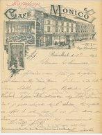 Factuur / Brief  Bruxelles / Brussel 1895 - Cafe Monico - Billiards - 1800 – 1899