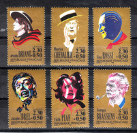 Francia - 1990. Celebri Chansonniers De France : Chevalier, Brel, Piaf, Bruant, Rossi. Complete MNH Set - Cantanti