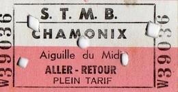 2 Tickets Anciens  Aller - Retour - Téléphérique S.T.M.B - Chamonix - Aiguille Du Midi - Europe