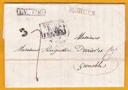 1830 - Marques MORGES, Suisse & LV6K Sur LAC De 2 Pages Vers Grenoble, France (règne De Charles X) - Entrée Par FERNEY - Suisse