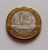 France, Génie, 10 Francs, 1991,  Bi-Metallic, (B5 - 10) - France