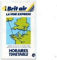 Horaires - Timetable  BRIT AIR - La Voie Express -  Aéroport De Morlaix  - 1982 - Europe