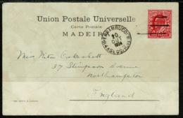 Ref 1258 - 1904 GB Stamp - Paquebot Postcard - Madeira Portugal To Northampton Via Pernambuco Brasil - Madeira