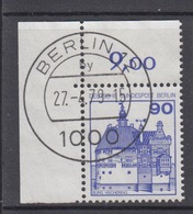 Berlin 588 Eckrand Links Oben Burgen+Schlösser 90 Pf Gestempelt Ohne Gummi - Berlin (West)