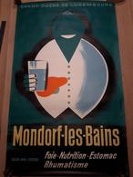 OUDE AFFICHE 1950-1965, GRAND DUCHE DU LUXEMBOURG, MONTDORF-LES-BAINS (+/- 99x60cm), ILLUSTRATEUR LEX WEYER, 1959 - Affiches