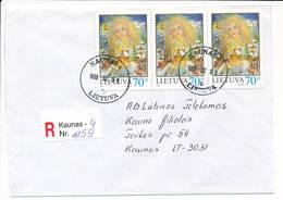 Registered Commercial Cover / Winter Christmas - 8 February 1999 Kaunas 4 - Lithuania