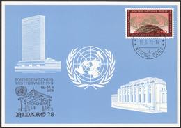 """UNITED NATIONS Geneva 1978 - Blue Official Exhibition Card """"Nidarö 78"""" In Trondheim, Norway - Briefmarkenausstellungen"""