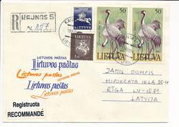 Registered Cover / Birds Crane Grus Grus - 14 October 1994 Kaunas 5 To Latvia - Lithuania