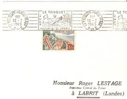 LE TOUQUET PARIS PLAGE FLAMME  ILLUSTREE GOLF 1963 TIMBRE CONCORDANT N° 1355 - Maschinenstempel (Werbestempel)