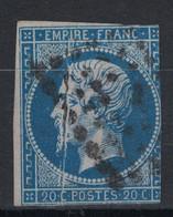 FRANCE - PEU COURANT Et JOLI PLI ACCORDÉON Sur NAPOLÉON N° 14 OBLITÉRÉ - 1853-1860 Napoleon III