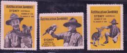 SCOUTS - AUSTRALIA -  1939 - SYDNEY JAMBOREE X 3 DIFFERENT LABELSN MNH - Scouting