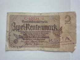 WWII WW2 2 DEUTSCHE RENTENMARK RENTENBANK MARK BANK BANKNOTE GERMANY CONCENTRATION CAMP KONZENTRATIONSLAGER KZ BERLIN - [ 4] 1933-1945 : Third Reich