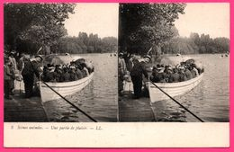 Cp Stéréoscopique - Scènes Animées - Une Partie De Plaisir - Barque - Lac - Animée - Voyageurs Sous Le Soleil - LL - Stereoscope Cards