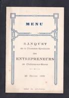 Menu Banquet De La Chambre Syndicale Des Entrepreneurs De Chalons Sur Marne Hotel Du Pot D' Etain - Menus