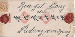 Nederlands Indië - 1878 - 10 Cent Willem III Op Chinezenbriefje Van KR Batavia Naar R PADANGPANDJANG - Zegel Defect - Nederlands-Indië