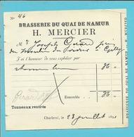 BRASSERIE DU QUAI DE NAMUR - H.MERCIER  / CHARLEROI 1891  (B359) - 1800 – 1899