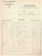 1910 Vve CLEUZET FUMISTERIE 17 QUAI FULCHIRON LYON - France