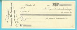 BRASSERIE DE PALMBOOM WERCHTER 1936  / Change à L'ordre (F575) - Alimentaire