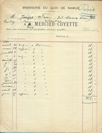 BRASSERIE DU QUAI DE NAMUR  / A.MERCIER-COYETTE  1891 (F948) - Belgique