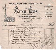 1910 TRAVAUX DU BATIMENT ANTOINE LUPPI PLOMBIER ZINGUEUR 89 RUE DE BONNEL & 33 QUAI GAILLETON LYON - France