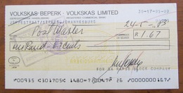 CHEQUE=SOUTH AFRICA=VOLKSKAS BANK=JEPPE STREET=JOHANNESBURG=1983=3c Stamp Duty. - Chèques & Chèques De Voyage