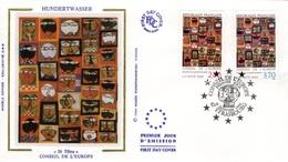 FRANCE Service 112 Et 113 FDC Premier Jour Conseil De L'Europe Strasbourg Tableau De Hundertwasser : 36 Têtes - Officials