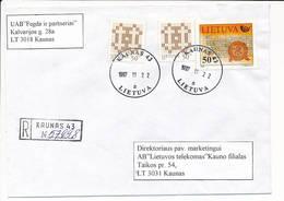 Registered Commercial Cover / Postal Service History - 22 November 1997 Kaunas 43 - Lithuania