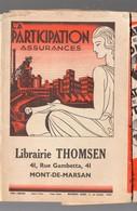 Mont De Marsan (40 Landes) Couvre-livre Librairie THOMSEN  Avec Pub LA PARTICIPATION   (PPP10099) - Buvards, Protège-cahiers Illustrés