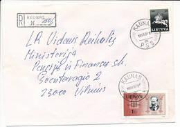 Registered Commercial Cover / President Antanas Smetona Politics - 27 July 1995 Kaunas PSS - Lithuania