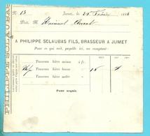PHILIPPE SCLAUBAS FILS, BRASSEUR (Brasserie) A JUMET 1884 (B6863) - 1800 – 1899