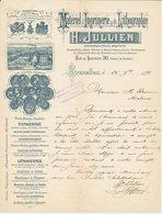 Factuur / Brief  Bruxelles / Brussel 1892 - H. Julien - Materiel D'Imprimerie  & De Lythographie - België
