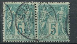 N°75 PAIRE BEAU CACHET A DATE. - 1876-1898 Sage (Type II)