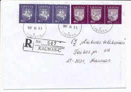 Registered Commercial Cover / Postmark On Backside Coat Of Arms - 3 April 1997 Kaunas CPS - Lithuania