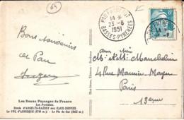 64 - PYRENEES ATLANTIQUES - PAU ENTREPOT - 1951 -  TàD DE TYPE A6 - Marcophilie (Lettres)