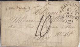 64 - PYRENEES ATLANTIQUES - ST JEAN DE LUZ - 1838 - TàD DE TYPE 12 + TAXE MANUELLE 10 - Marcophilie (Lettres)