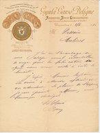 Factuur / Brief  Bruxelles / Brussel 1892 -Gyula Parso Deligne - Typo Et Lithographiques - Drukinkt - Uil / Owl - België