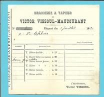BRASSERIE A VAPEUR DE VICTOR VISSOUL-MAUCOURANT MONTIGNY 1891 (B6924) - 1800 – 1899
