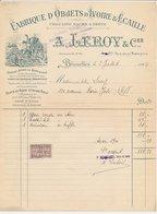 Factuur Bruxelles / Brussel 1924 - Leroy & Cie. - Fabrique D'objets  D'Ivoire - Factory Of Ivory Objects - Elephant - België