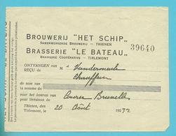 BROUWERIJ HET SCHIP THIENEN (Tienen) /  BRAASERIE LE BATEAU TIRLEMONT 1932 (1587) - Belgique