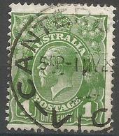Australia - 1926 King George V  1d Sage Green Used   SG 95  Sc 67 - 1913-36 George V : Other Issues