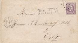 Nederlands Indië - 188? - 25 Cent Willem III, Envelop G3c Weltevreden VIA NAPELS Naar Delft / Nederland - Indes Néerlandaises