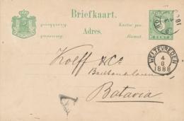 Nederlands Indië - 1888 - 5 Cent Cijfer, Briefkaart G8 Van KR Garoet Naar Batavia - Indes Néerlandaises