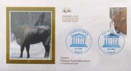 FRANCE Service 132 FDC Premier Jour UNESCO Bison Forêt Bialowiesa Pologne Polska 26 Nov 2005 (1) - Lettres & Documents