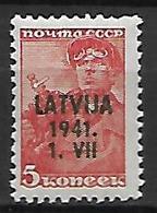 LETTONIE   -  Occupation Allemande   -  1941.   Y&T N° 1 **.  Timbre Russe Surchargé - Lettonie